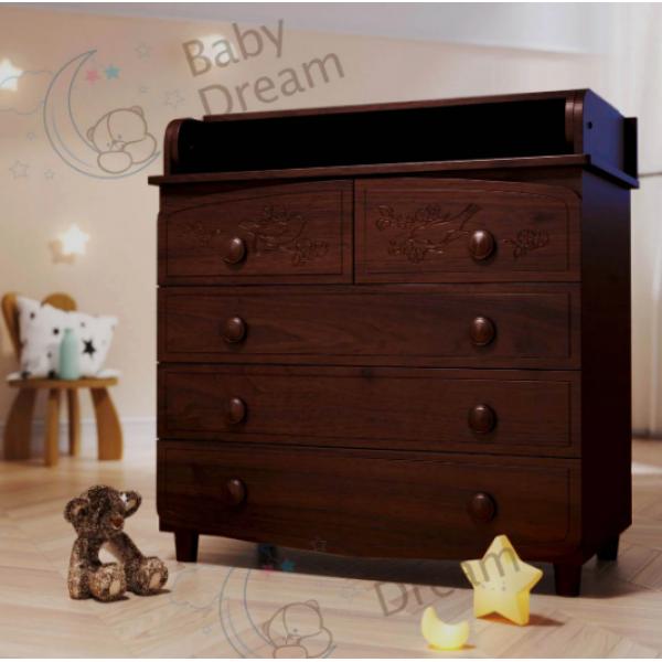 Комод-пеленатор BabyDream Пташки, 5 шухляд (МДФ)