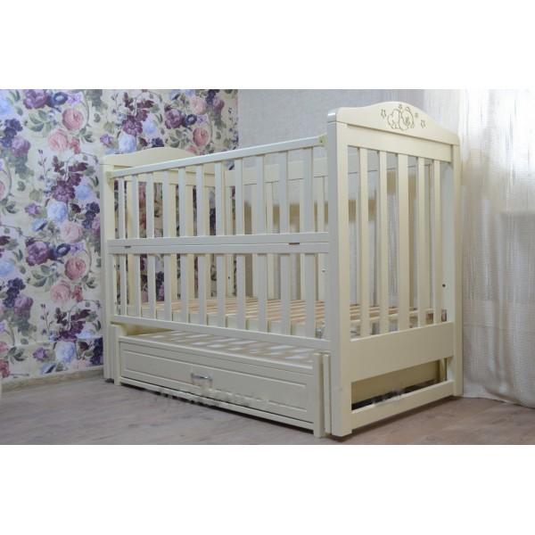 """Дитяче ліжко-колиска на шарнірах """"Ведмедик"""", відкидна боковинка+шухляда"""