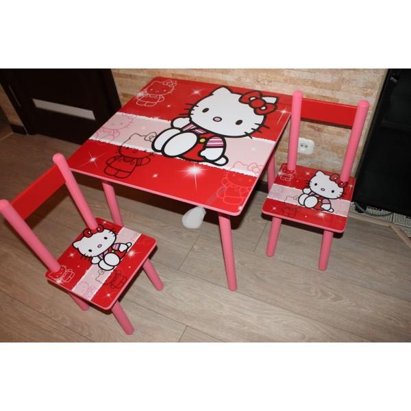 """Дитячий столик зі стільчиками DisneyToys """"Хелло Кітті"""" (60*60 см), Україна (001)"""