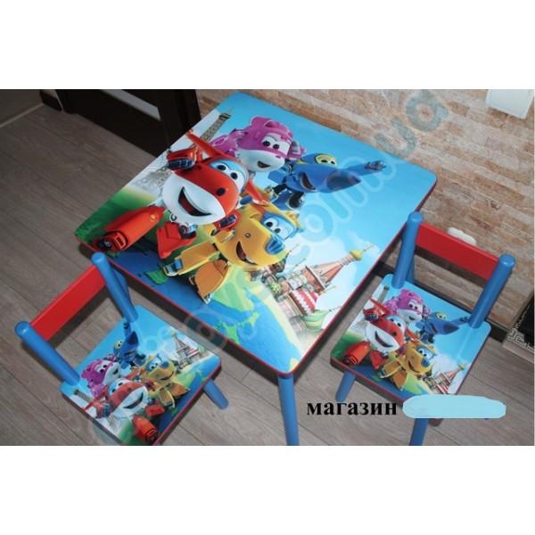 """Дитячий столик зі стільчиками DisneyToys """"Літачки"""" (60*60 см), Україна"""