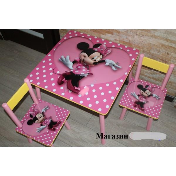 """Дитячий столик зі стільчиками DisneyToys """"Мінні Маус"""" (60*60 см), Україна (pink)"""
