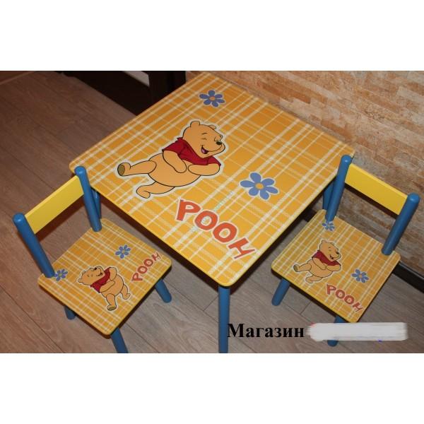 """Дитячий столик зі стільчиками DisneyToys """"ВінніПух"""" (60*60 см), Україна"""