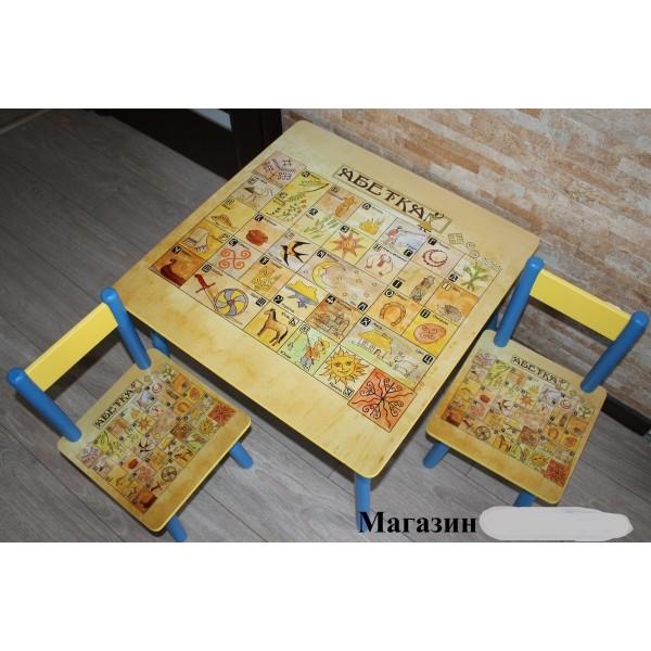 """Дитячий столик зі стільчиками DisneyToys """"Абетка #2"""" (60*60 см), Україна"""