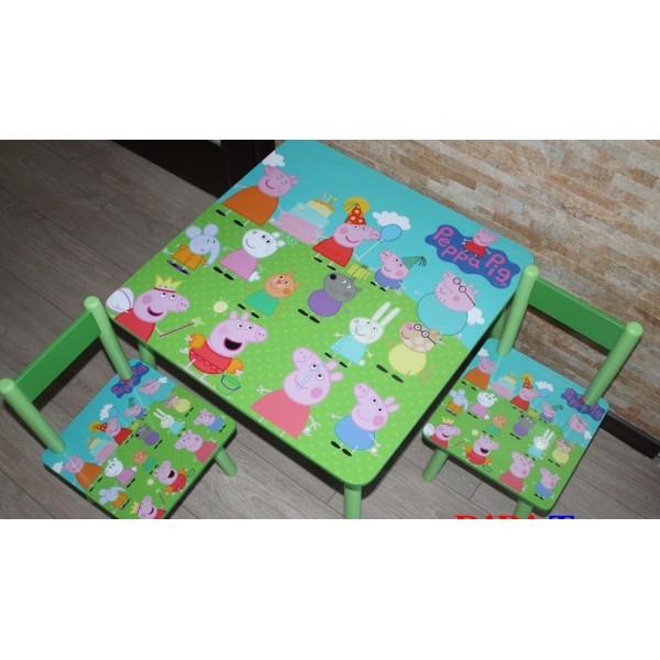 """Дитячий столик зі стільчиками DisneyToys """"Пепа"""" (60*60 см), Україна"""