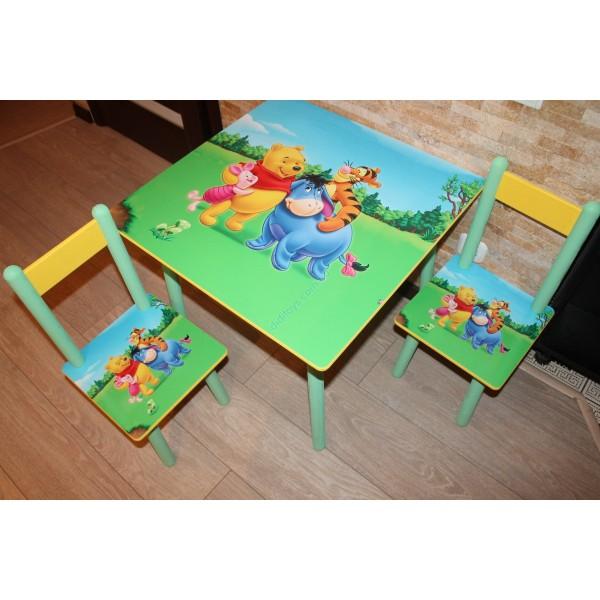 """Дитячий столик зі стільчиками DisneyToys """"ВінніПух та друзі"""" (60*60 см), Україна"""
